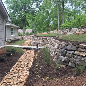 Beautiful landscaped and hardscaped garden in north Georgia